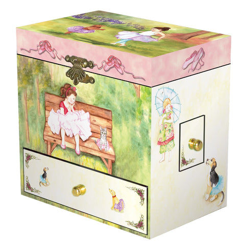 Girls and their doggies dancing in the garden in tutus | kid's musical jewelry box with secret drawers for treasure storage from Enchantmints