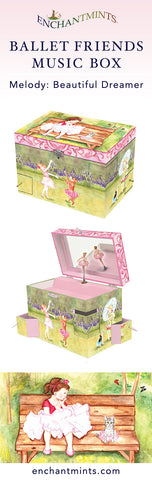 Ballet Friends Music Box for children's jewelry and keepsakes.  Perfect gift for ballet and puppy lovers | Pretty children's gifts and kids decor from Enchantmints