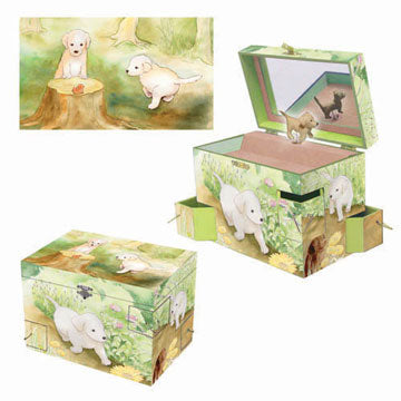 Puppy Love Music Box Top View | Beautiful childrens gifts and decor from Enchantmints