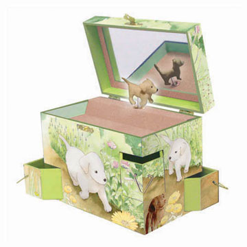 Puppy Love Music Box Open View | Beautiful childrens gifts and decor from Enchantmints