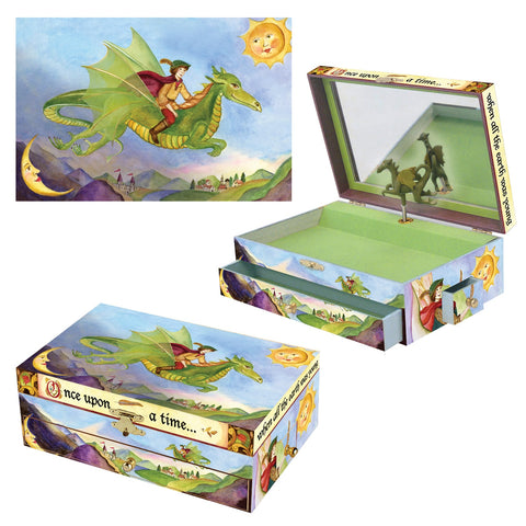dragon's world musical treasure box from enchantmints 3 in 1 view.  a friendly dragon, a bright sun shining, and a young rider off on an adventure | unusual gift for boys