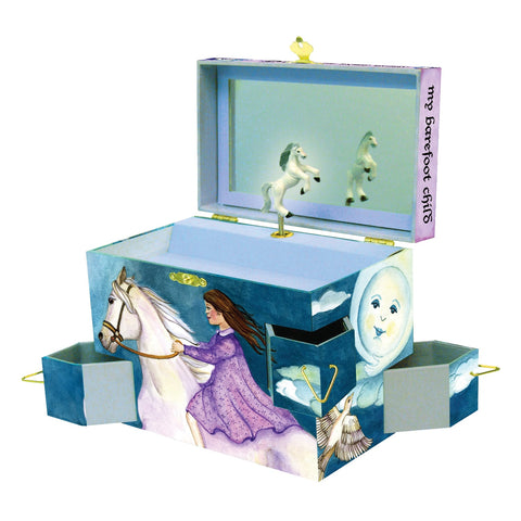 gorgeous white horse and girl in purple dress | magical gifts for kids | discover your world music box by enchantmints