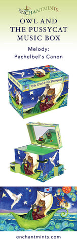 Owl and Pussycat Music Box for children's jewelry and keepsakes.  Perfect gift for fairytale lovers | Pretty children's gifts and kids decor from Enchantmints