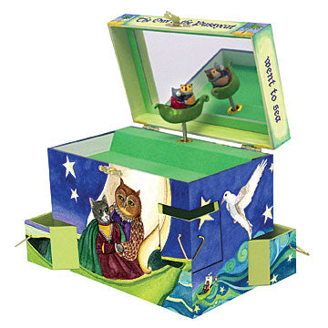 Owl and pussycat music box open view | beautiful childrens gifts and decor from enchantmints