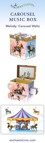 Carousel Music Box for children's jewelry and keepsakes.  Perfect gift for horse lovers | Pretty children's gifts and kids decor from Enchantmints