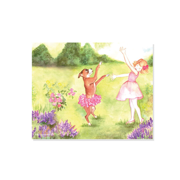 A little ballerina and her boxer friend in a pink tutu dance in the garden | printable watercolor wall art for kids | easy DIY kids decor from Enchantmints