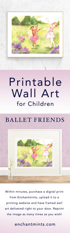 Ballet Friends Printable Wall Art.  Purchase, download, order framed prints, all in a few minutes.  Use the file as many times as you wish, try it on pillows, mugs, t-shirts and more. Perfect gift for ballet lovers | Pretty children's gifts and kids decor from Enchantmints.  NOTE: these printable files are for personal use only.
