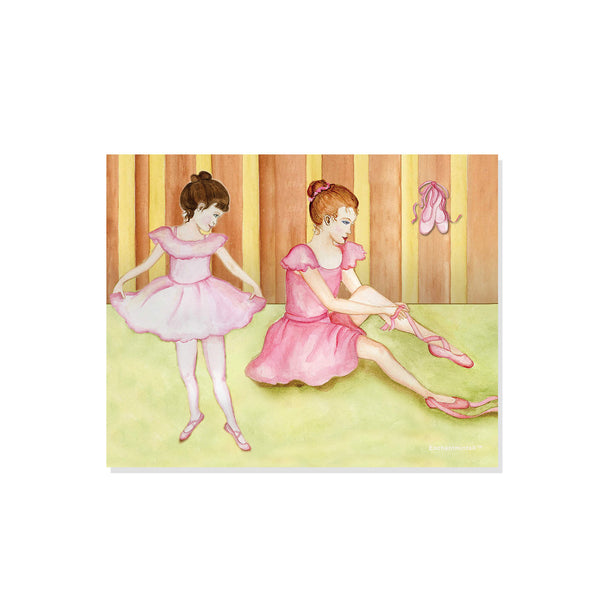 Two little ballerinas put on their shoes getting ready for a recital | printable watercolor wall art for kids | easy DIY kids decor from Enchantmints