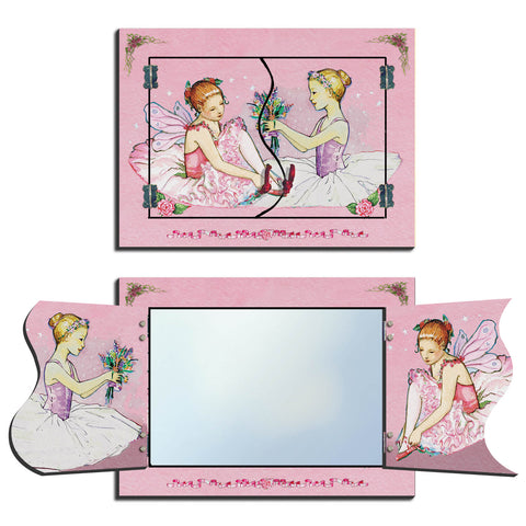 two ballerinas in tutus with flowers with pink background | foldaway mirrors for kids from enchantmints