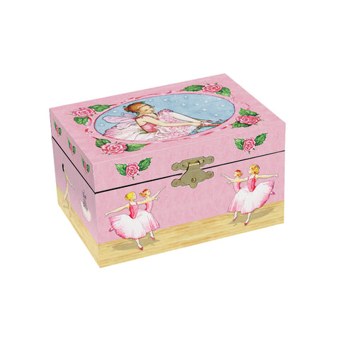 little ballerina pulling on her ballet shoes with corps de ballet on the sides | small musical jewelry box with treasure storage for kids from Enchantmints
