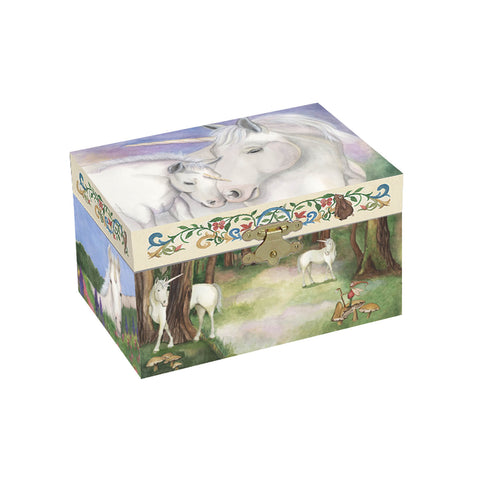 A gentle watercolor mother and foal unicorn on the top, and magical unicorn forest scenes on the sides | gentle unicorn musical treasure box for kids from enchantmints