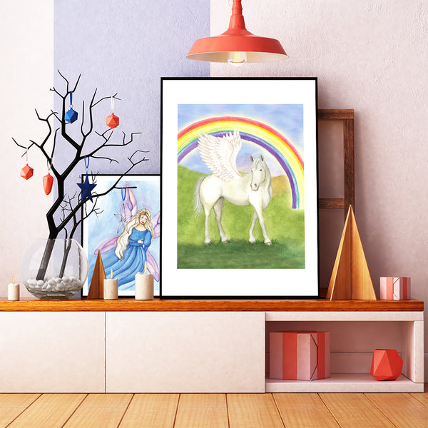 Pegasus printable wall art | childrens gifts and decor from enchantmints