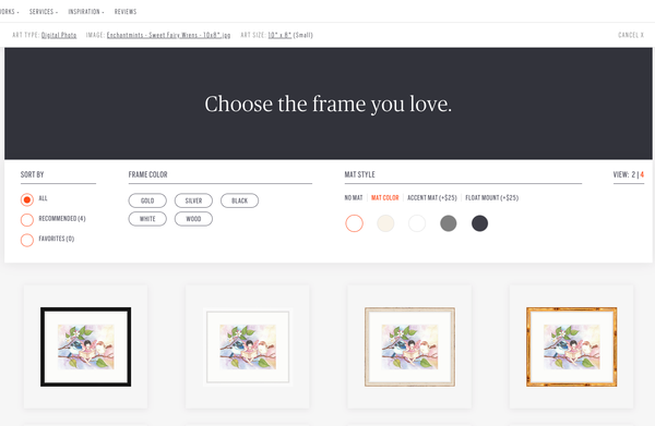 Select frame, beginning with a category if you want | Framebridge for online framing of childrens wall art from Enchantmints