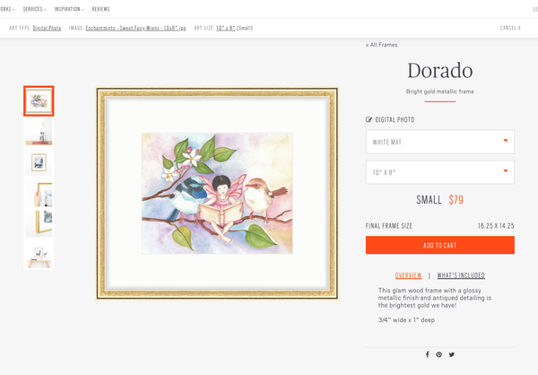 Select a mat to go with the frame and image | Framebridge for online framing of childrens wall art from Enchantmints
