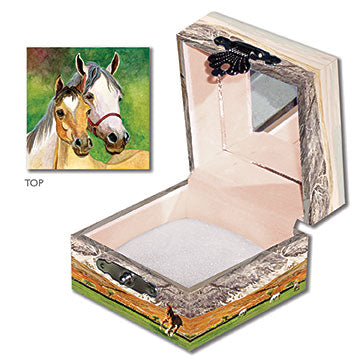 Mare and Foal Tiny Treasure Box Three-in-one View | Beautiful childrens gifts and decor from Enchantmints