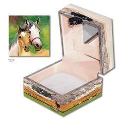 Pretty mother and foal set with ranch background | tiny treasure box for kids from Enchantmints