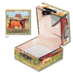 mare and foal and stallion out in ranch field hand crank tiny treasure box | watercolor children's gifts from Enchantmints