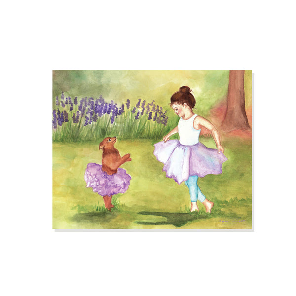 A little girl and her doggie are in purple tutus dancing out in the garden | printable watercolor wall art for kids | easy DIY kids decor from Enchantmints
