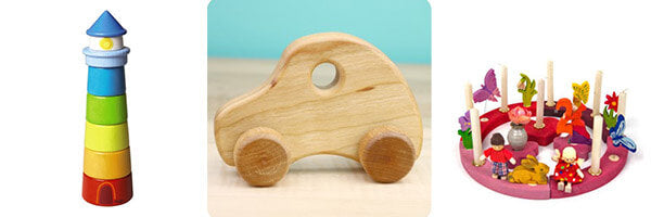 Toddler Eco Wood Car toy, Lighthouse stacking game, Pink and Reg birthday ring, wooden toys