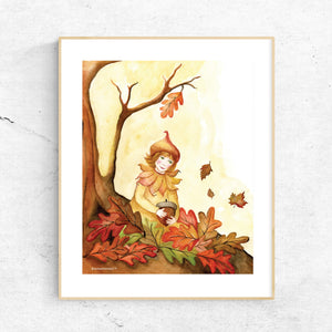 autumn leaves printable wall art in frame from Enchantmints