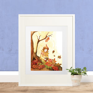 autumn leaves printable wall art in frame with purple wall from Enchantmints