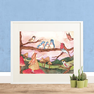 avian choir printable wall art framed on floor with cacti from Enchantmints