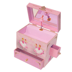 Ballerina Music box open view | A ballerina is on top in pink with roses all around her.  the capable corps de ballet are on the side.  Watercolor illustrations and 4 secret treasure drawers | Pretty musical gifts for kids from Enchantmints