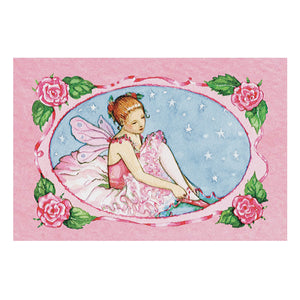 Ballerina Music box top view | A ballerina is on top in pink with roses all around her.  the capable corps de ballet are on the side.  Watercolor illustrations and 4 secret treasure drawers | Pretty musical gifts for kids from Enchantmints