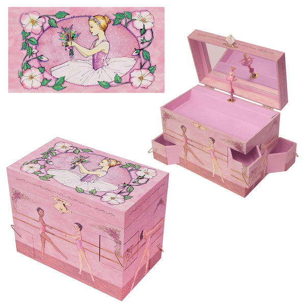 Ballet School Music box three-in-one view | A ballerina is on top in pink with a posey and morning glories around her.  Scenes from the ballet studio are on the side.  Watercolor illustrations and 4 secret corner treasure drawers | Pretty musical gifts for kids from Enchantmints