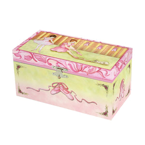 Ballet Shoes Music box closed view | Two ballerinas getting ready for a recital.  Ballet shoes are on the side.  Watercolor illustrations and hidden treasure compartment inside | Pretty musical gifts for kids from Enchantmints