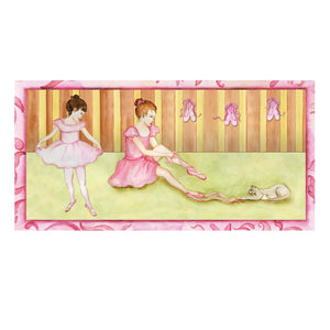 Ballet Shoes Music box top view | Two ballerinas getting ready for a recital.  Ballet shoes are on the side.  Watercolor illustrations and hidden treasure compartment inside | Pretty musical gifts for kids from Enchantmints