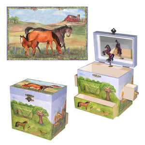 Horse Ranch music box 3-in-1 view | Musical treasure boxes and decor for kids from Enchantmints | unusual gifts for horse lovers