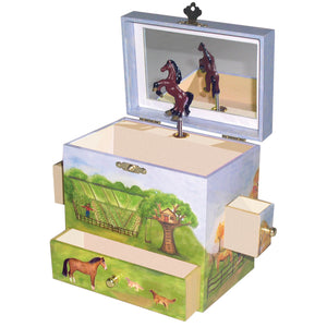 Horse Ranch music box open view | Musical treasure boxes and decor for kids from Enchantmints | unusual gifts for horse lovers