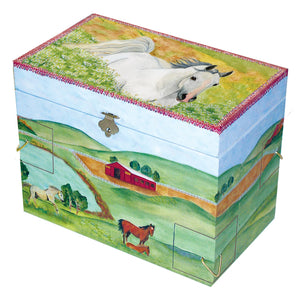 Hideaway horse music box closed view | Musical treasure boxes and decor for kids from Enchantmints | beautiful gifts for horse lovers with white horse and farmscape in watercolor graphics