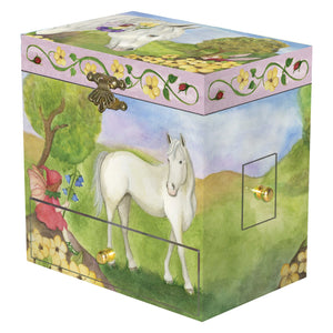 Horse Fairy music box closed view | Musical treasure boxes and decor for kids from Enchantmints | unusual gifts for kids