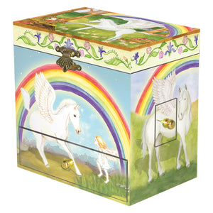 Pegasus rainbow music box closed view | Musical treasure boxes and decor for kids from Enchantmints | unusual gifts for girls