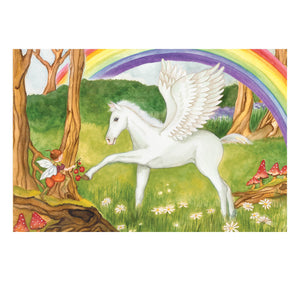 Pegasus rainbow music box top view | Musical treasure boxes and decor for kids from Enchantmints | unusual gifts for girls