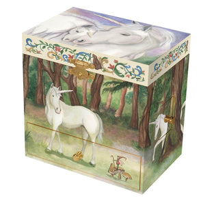 Unicorn music box closed view | Musical treasure boxes and decor for kids from Enchantmints | unusual gifts for unicorn lovers