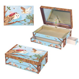 Owl Travellers music box 3-in-1 view | Musical treasure boxes and decor for kids from Enchantmints | unusual gifts for owl lovers