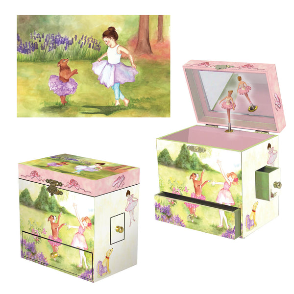 Two Times Tutu Music Box - three in one view | a girl and her dog dance out in the garden. There is pink flocking inside the box, and it has 4 corner drawers| Pretty musical gifts for kids from Enchantmints