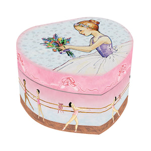 Ballet Heart Music box closed view | An extra petite heart-shaped ballerina music box with a watercolor ballerina and posey on top.  Studio practice time at the barre is on the side.  | Pretty musical gifts for girls from Enchantmints