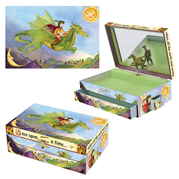Dragon's World music box 3-in-1 view | Musical treasure boxes and decor for kids from Enchantmints | unusual gifts for kids
