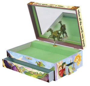 Dragon's World music box open view | Musical treasure boxes and decor for kids from Enchantmints | unusual gifts for kids