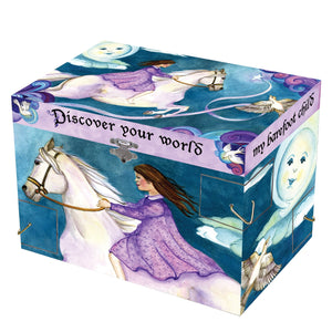 Discover Your World  music box closed view | Musical treasure boxes and decor for kids from Enchantmints | unusual gifts for girls