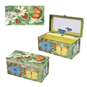 Butterfly music box 3-in-1 view | Musical treasure boxes and decor for kids from Enchantmints | unusual gifts for girls