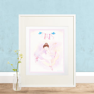 ballet wand printable wall art framed on floor with plant  from Enchantmints