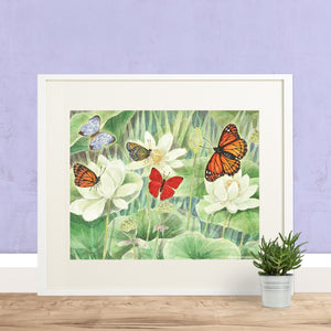 butterfly delight printable wall art framed on floor with plant from Enchantmints