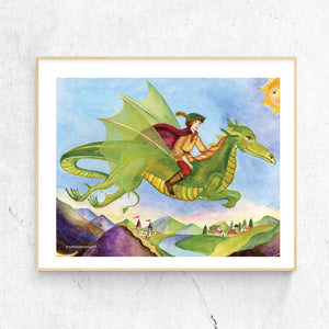 dragon's world printable wall art in frame from Enchantmints