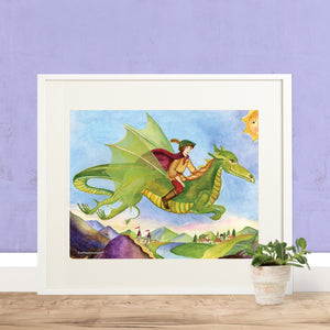 dragon's world printable wall art in frame with purple wall from Enchantmints