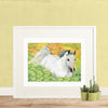 Watercolor painting of white horse in green and yellow field of wildflowers, standing against a yellow wall, with three little cacti plants | Printable wall art for children from Enchantmints.